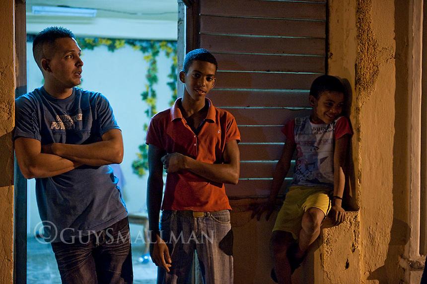 Nightime street scene. Santiago del Cuba. 7-12-10 The city from above.