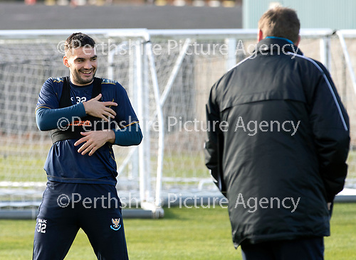 St Johnstone Training…19.10.18   McDiarmid Park, Perth<br />Striker Tony Watt pictured in training this morning with manager Tommy Wright ahead of tomorrow's game at Motherwell<br />Picture by Graeme Hart.<br />Copyright Perthshire Picture Agency<br />Tel: 01738 623350  Mobile: 07990 594431