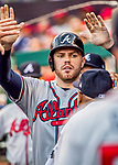 8 July 2017: Atlanta Braves third baseman Freddie Freeman returns to the dugout after scoring against the Washington Nationals at Nationals Park in Washington, DC. The Braves shut out the Nationals 13-0 to take the third game of their 4-game series. Mandatory Credit: Ed Wolfstein Photo *** RAW (NEF) Image File Available ***
