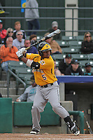 Wichita State Shockers infielder Zair Koeiman #5 at bat during a game against the Coastal Carolina Chanticleers at Ticketreturn.com Field at Pelicans Ballpark on February 23, 2014 in Myrtle Beach, South Carolina. Wichita State defeated Coastal Carolina by the score of 5-2. (Robert Gurganus/Four Seam Images)