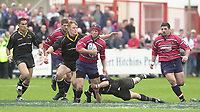 18/05/2002.Sport -Rugby Union- Zurich Championship Quarter final.Gloucester vs Newcastle.Henry Paul touch's down.Gloucester's flanker Jake Boer on the break..[Mandatory Credit, Peter Spurier/ Intersport Images].