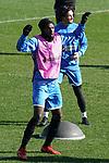 Getafe's Allan Nyom (l) and Jason Remeseiro during training session. February 19,2020.(ALTERPHOTOS/Acero)