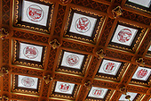 Glass panes in the ceiling of the House of Representatives Chamber inside the Michigan State Capitol, which opened on January 1, 1879 in Lansing, Michigan on Saturday, June 29, 2018. The ceiling was designed to let in daylight and has one pane with the state seal for each of the states that comprise the United States of America,  The building was designed by architect Elijah E. Myers, and is one of the first state capitols to be topped by a lofty cast iron dome, that was modeled on the dome of the United States Capitol in Washington, DC. <br /> Credit: Ron Sachs / CNP