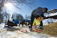 Volunteer vet Bruce Nwadike examines an Ed Stielstra dog on Saturday at the Grayling checkpoing during Iditarod 2011