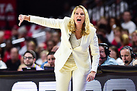College Park, MD - NOV 13, 2017: Maryland Terrapins head coach Brenda Frese calls out a play from the sidelines during game between No. 4 ranked South Carolina and the No. 15 Maryland Terrapins at the XFINITY Center in College Park, MD. The Gamecocks defeated Maryland 94-86. (Photo by Phil Peters/Media Images International)