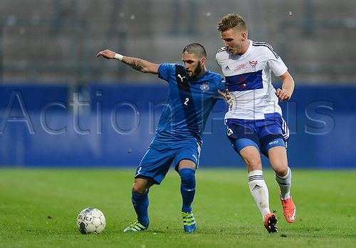 03.06.2016. Volksbank-Stadion, Frankfurt, Germany. International football friendly, Kosovo versus Faroe Islands.  Fanol Perdedaj (Kosovo) shields the ball from Gilli Rolantbson (Far)  <br />