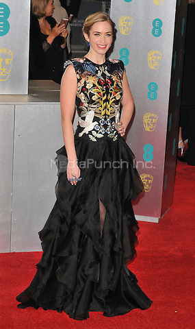 Emily Blunt at the EE British Academy Film Awards (BAFTAs) 2017, Royal Albert Hall, Kensington Gore, London, England, UK, on Sunday 12 February 2017.<br /> CAP/CAN<br /> &copy;CAN/Capital Pictures /MediaPunch ***NORTH AND SOUTH AMERICAS ONLY***