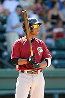 Second baseman Jorge Rivero (24) of the Savannah Sand Gnats bats in a game against the Greenville Drive on Sunday, June 22, 2014, at Fluor Field at the West End in Greenville, South Carolina. Greenville won, 7-3. (Tom Priddy/Four Seam Images)