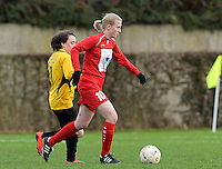 20151128 - PITTEM , BELGIUM : Lieselot De Bruyn (10) pictured with Elodie Cnockaert (7) during a soccer match between the women teams of DVK Egem Ladies and KVK Svelta Melsele  , during the eleventh matchday in the Second League - Tweede Nationale season, Saturday 28 November 2015 . PHOTO DAVID CATRY