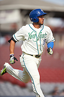 Hartford Yard Goats designated hitter Dillon Thomas (25) during the first game of a doubleheader against the Trenton Thunder on June 1, 2016 at Sen. Thomas J. Dodd Memorial Stadium in Norwich, Connecticut.  Trenton defeated Hartford 4-2.  (Mike Janes/Four Seam Images)