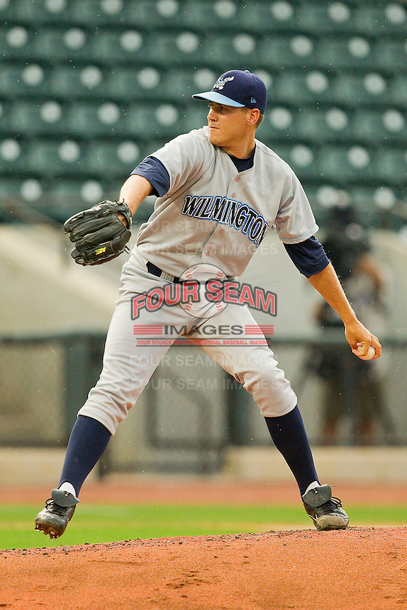 Starting pitcher Justin Marks #14 of the Wilmington Blue Rocks in action against the Winston-Salem Dash at BB&T Ballpark on August 3, 2011 in Winston-Salem, North Carolina.  The Blue Rocks defeated the Dash 6-2.   Brian Westerholt / Four Seam Images
