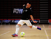 Marvin Eakins shoots for goal during the international men's futsal match between the NZ Futsal Whites and New Caledonia at Baypark Arena in Mount Maunganui, New Zealand on Thursday, 14 September 2017. Photo: Dave Lintott / lintottphoto.co.nz
