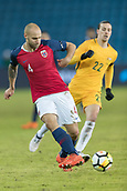 23rd March 2018, Ullevaal Stadion, Oslo, Norway; International Football Friendly, Norway versus Australia; Tore Reiniussen of Norway pases away from Jackson Irvine of Australia