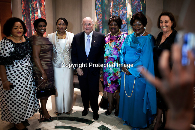 JOHANNESBURG, SOUTH AFRICA - FEBRUARY 9: FIFA president Sepp Blatter poses for pictures before a dinner in his honor on February 9, 2013 at Sun international hotel in Sandton, Johannesburg, South Africa. Mr. Blatter visited South Africa to watch the final game of the CAP, Africa's Cup of Nations between Nigeria and Burkina Faso. (Photo by Per-Anders Pettersson)