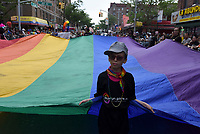 QUEENS, NEW YORK - JUNE 04: The LGBT  Participant make their way to the march as the LGBT Queens Pride 2017 parade. Across the Jackson Heights streets performances and Latino community take place to celebrate  25 years of the  Queens parade on June 4, 2017 in New York.   Joana Toro/VIEW press