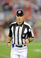 Sept. 27, 2009; Glendale, AZ, USA; NFL referee Derick Bowers during the game between the Arizona Cardinals against the Indianapolis Colts at University of Phoenix Stadium. Indianapolis defeated Arizona 31-10. Mandatory Credit: Mark J. Rebilas-