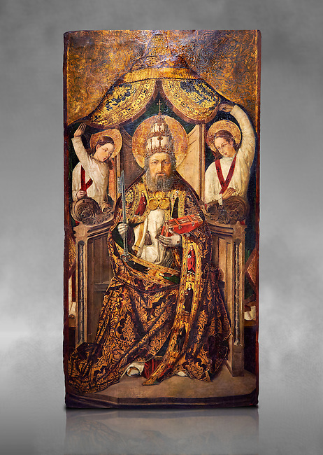 Gothic Catalan altarpiece of Saint Peter enthroned, by Roderic d'Orsona of Valencia, circa 1475, tempera and gold leaf on wood.  National Museum of Catalan Art, Barcelona, Spain, inv no: MNAC 15816. Against a grey art background.