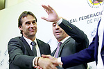 The coach of the national soccer team of Spain, Julen Lopetegui (l) with RFEF's President Luis Rubiales, during the signing of the renewal of his contract until 2020. May 22,2018. (ALTERPHOTOS/Acero)