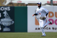 Syracuse Chiefs center fielder Bryce Harper #34 runs in from the outfield during the opening game of the International League season against the Rochester Red Wings at Alliance Bank Stadium on April 5, 2012 in Syracuse, New York.  (Mike Janes/Four Seam Images)