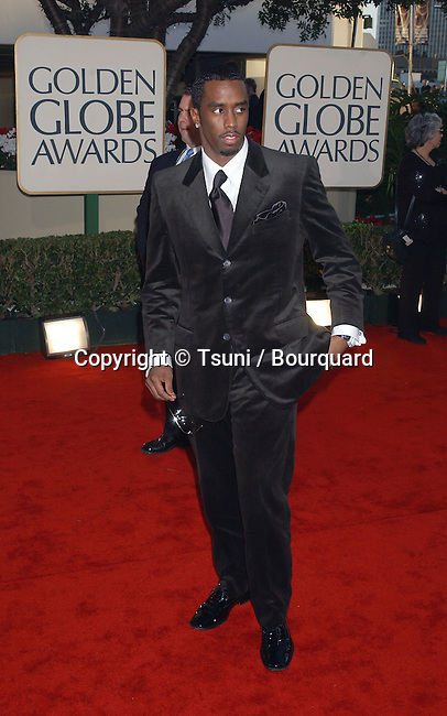 Sean 'P.Diddy' Combs arrives at The 59th Annual Golden Globe Awards held at the Beverly Hilton Hotel in Los Angeles, Ca., Sunday, January 20, 2002.  CombsSeanPDiddy01.JPG
