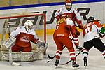 03.01.2020, BLZ Arena, Füssen / Fuessen, GER, IIHF Ice Hockey U18 Women's World Championship DIV I Group A, <br /> Daenemark (DEN) vs Ungarn (HUN), <br /> im Bild Mira Seregely (HUN, #17) allein gegen Sofie Skott (DEN, #22), Emma-Sofie Nordstrom (DEN, #25), Laerke Sondergaard (DEN, #6)<br /> <br /> Foto © nordphoto / Hafner