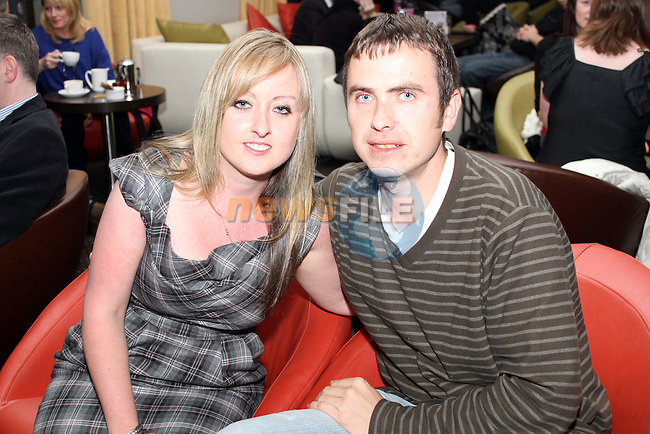 Sarah Quinn and Colin Balfe in The d hotel before The 4 of Us Gig...(Photo credit should read Jenny Matthews www.newsfile.ie)....This Picture has been sent you under the condtions enclosed by:.Newsfile Ltd..The Studio,.Millmount Abbey,.Drogheda,.Co Meath..Ireland..Tel: +353(0)41-9871240.Fax: +353(0)41-9871260.GSM: +353(0)86-2500958.email: pictures@newsfile.ie.www.newsfile.ie.