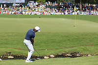 Tommy Fleetwood (ENG) duffs his chip onto the 18th green during Saturday's Round 3 of the 2017 PGA Championship held at Quail Hollow Golf Club, Charlotte, North Carolina, USA. 12th August 2017.<br /> Picture: Eoin Clarke | Golffile<br /> <br /> <br /> All photos usage must carry mandatory copyright credit (&copy; Golffile | Eoin Clarke)