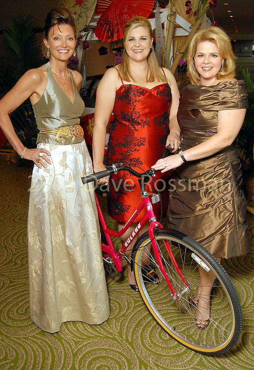 From left: Tina Wrotenbery, DeeDee Marsh and Kelli Weinzierl at the Bicycle Ball at the Hilton Americas Hotel Saturday evening Sept. 26,2009. (Dave Rossman/For the Chronicle)