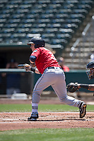Tacoma Rainiers shortstop Zach Vincej (3) shows bunt during a Pacific Coast League against the Sacramento RiverCats at Raley Field on May 15, 2018 in Sacramento, California. Tacoma defeated Sacramento 8-5. (Zachary Lucy/Four Seam Images)
