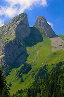 Les Jumelles (The Twins) summits in the Swiss Alps