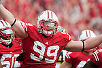 November 14, 2009: Wisconsin Badgers defensive lineman J.J. Watt (99) celebrates during an NCAA football game against the Michigan Wolverines at Camp Randall Stadium on November 14, 2009 in Madison, Wisconsin. The Badgers won 45-24. (Photo by David Stluka)