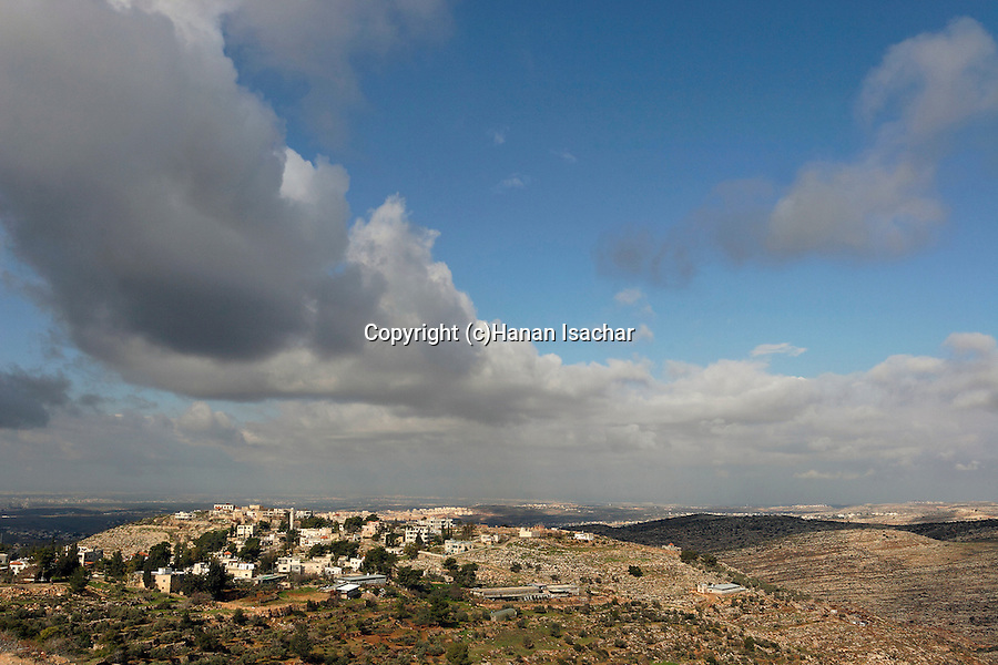 Judea, Beth El Mountains. Palestinian village Beit Ur el Foka, the site of biblical Upper Beth Horon as seen from settlement Beth Horon