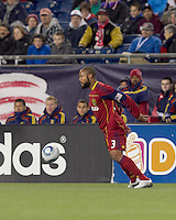 Real Salt Lake defender Robbie Russell (3) traps the ball. In a Major League Soccer (MLS) match, Real Salt Lake defeated the New England Revolution, 2-0, at Gillette Stadium on April 9, 2011.