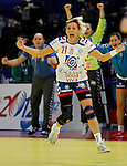 BELGRADE, SERBIA - DECEMBER 16:  Biljana Filipovic (C) of Serbia celebrates the score during the Women's European Handball Championship 2012 third place match between Hungary and Serbia at Arena Hall on December 16, 2012 in Belgrade, Serbia. (Photo by Srdjan Stevanovic/Getty Images)