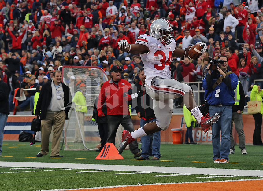 Ohio State Buckeyes running back Carlos Hyde (34) scores his second touchdown in the fourth quarter of their game against the Fighting Illini  at Memorial Stadium in Champaign, Ill on November 16, 2013. (Columbus Dispatch photo by Brooke LaValley)