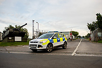 "Wednesday 14 June 2017<br /> Pictured: Police at the entrance to the firing range <br /> Re: Paramedics and a fire crews are in attendance at what has been describes as an ""ongoing incident"" at a military training base in Pembrokeshire.<br /> The Welsh Ambulance Service said it was alerted to an incident at the Castlemartin firing range just before 15:30 BST on Wednesday.<br /> The range is owned by the Ministry of Defence (MOD) Live firing was due to take place at the range from Monday to Friday.<br /> Mid and West Wales Fire and Rescue Service is also in attendance.<br /> Castlemartin is the only UK Army range normally available for direct-fire live gunnery exercises and is used by Army, Army reserves and cadets.<br /> It is also used by civilian organisations and research establishments."