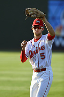 Center Fielder Cole Brannen (5) of the Greenville Drive in a game against the Kannapolis Intimidators on Wednesday, May 9, 2018, at Fluor Field at the West End in Greenville, South Carolina. Kannapolis won, 10-2. (Tom Priddy/Four Seam Images)