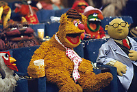 Fozzie Bear, filming of Muppet Movie, CBS studios, Los Angeles, 1978. Photo by John G. Zimmerman.