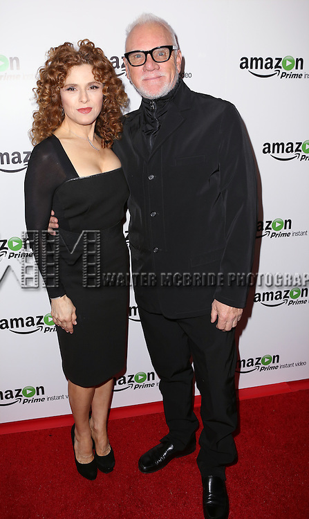 Bernadette Peters and Malcolm McDowell attending the Amazon Red Carpet Premiere for 'Mozart in the Jungle' at Alice Tully Hall on December 2, 2014 in New York City.