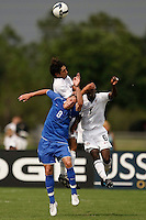 Zack Foxhoven (8) of the Academy select Team and Boyd Okwuonu (6) of the USA. The US U-17 Men's National Team defeated the Development Academy Select Team 5-3 during day two of the US Soccer Development Academy  Spring Showcase in Sarasota, FL, on May 23, 2009.