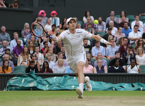02.07.2016. All England Lawn Tennis and Croquet Club, London, England. The Wimbledon Tennis Championships Day Six. Number 2 seed, Andy Murray (GBR) stretches for a forehand during his singles match against John Millman (AUS).