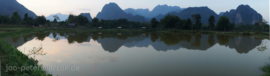 landscape with lake mountains close to Vang Vieng, Laos, 2012