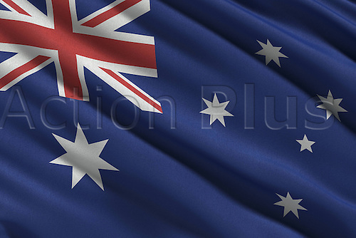 June 2014. National flag to be used during the World Cup 2014 in Brazil. Flag from Australia blowing in Wind