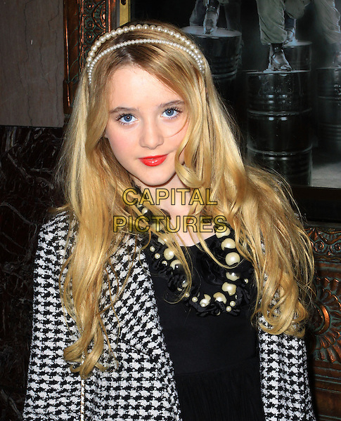 """KATHRYN NEWTON .Opening Night Of """"STOMP"""" held At The Pantages Theatre, Hollywood, California , USA, 26th January 2010..arrivals portrait headshot black and white houndstooth coat pearl hairband hair head band headband necklace red lipstick make-up patterned pattern .CAP/ADM/KB.©Kevan Brooks/AdMedia/Capital Pictures."""