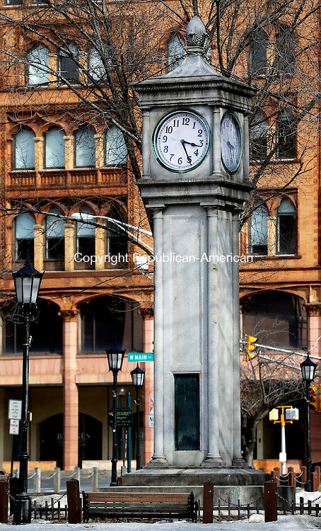 Waterbury, CT- 18 March 2015-031815CM01-  The Colley Clock on the Waterbury city green is shown on Wednesday.  The Waterbury Regional Chamber of Commerce has plans to raise money to refurbish it.  Christopher Massa Republican-American