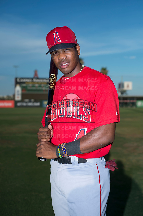 AZL Angels infielder Jose Verrier (4) poses for a photo before an Arizona League game against the AZL Padres 2 at Tempe Diablo Stadium on July 18, 2018 in Tempe, Arizona. The AZL Padres 2 defeated the AZL Angels 8-1. (Zachary Lucy/Four Seam Images)