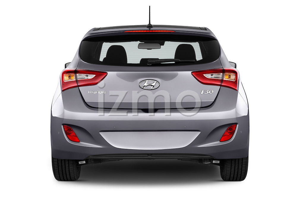 Straight rear view of 2015 Hyundai I30 Joy 5 Door Hatchback stock images