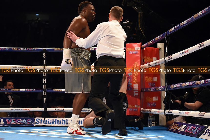 Dereck Chisora (grey shorts) defeats Jakov Gospic at the O2 Arena, London