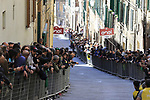 The crowds await the leaders with anticipation on Via Santa Caterina in Siena in the last km of Strade Bianche 2019 running 184km from Siena to Siena, held over the white gravel roads of Tuscany, Italy. 9th March 2019.<br /> Picture: Eoin Clarke | Cyclefile<br /> <br /> <br /> All photos usage must carry mandatory copyright credit (&copy; Cyclefile | Eoin Clarke)