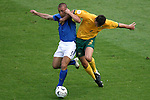 26 June 2006: Fabio Cannavaro (ITA) (left) battles with Lucas Neill (AUS) (2). Italy (1st place in Group E) defeated Australia (2nd place in Group F) 1-0 at Fritz-Walter Stadion in Kaiserslautern, Germany in match 53, a Round of 16 game, in the 2006 FIFA World Cup.